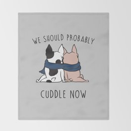 Cuddle Now Frenchie Throw Blanket