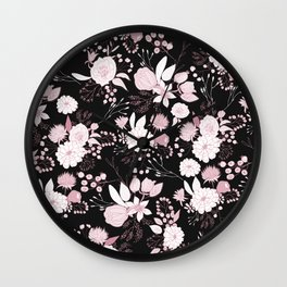 Blush pink white black rustic abstract floral illustration Wall Clock