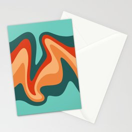 Liquid Mountain Abstract //Teal, Turquoise, Red, Orange, Peach Stationery Cards