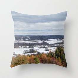 Muggleswick snow landscape Throw Pillow