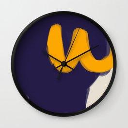 blue yellow white minimal abstract art Wall Clock