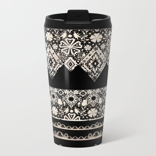 Seamless lace lacy washi tapes ribbon pattern on black background texture Metal Travel Mug