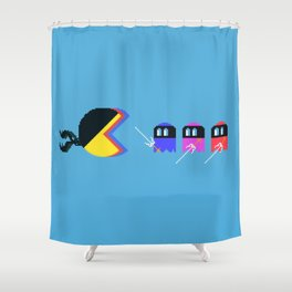 Pac Ninja, Pixelated Terror of the Night | videogame #tribute | #pixelart Shower Curtain