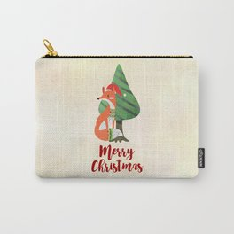Fox in Santa Hat Merry Christmas Carry-All Pouch