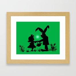Silhouette Easter Bunny Gift Framed Art Print