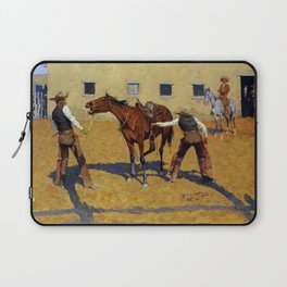 """Frederic Remington Western Art """"His First Lesson"""" Laptop Sleeve"""