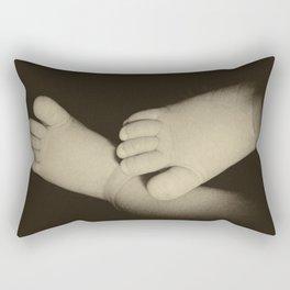 Newborn baby feet in retro style Rectangular Pillow