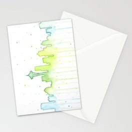 Seattle Skyline Watercolor Space Needle Painting Stationery Cards