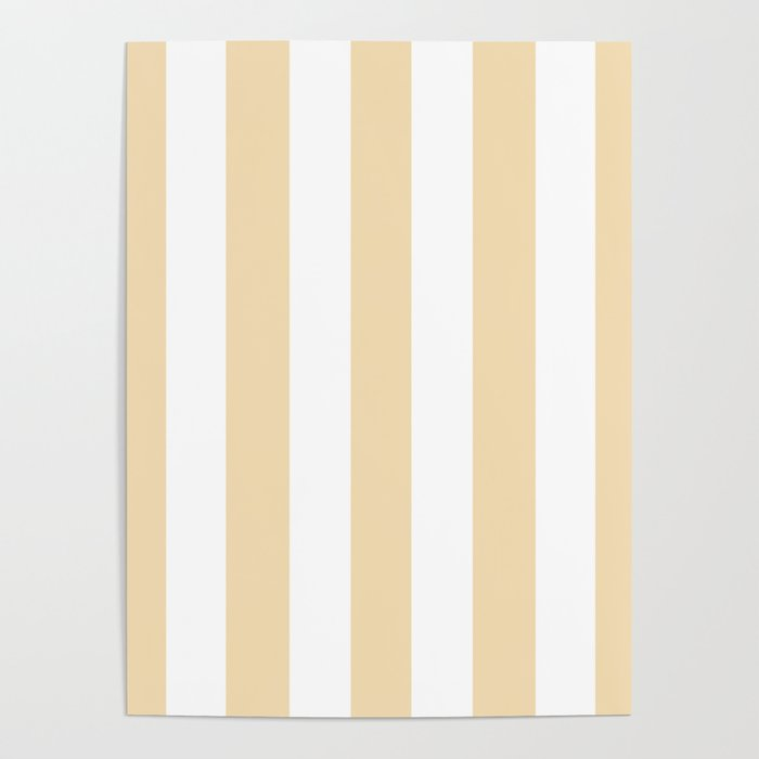 Wheat pink - solid color - white vertical lines pattern Poster