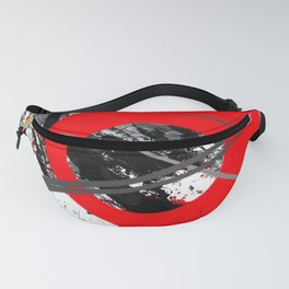 red storm abstract geometric digital art Fanny Pack