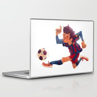 messi Laptop & iPad Skins featuring Lionel Messi, Barcelona Jersey by Mike Laughead