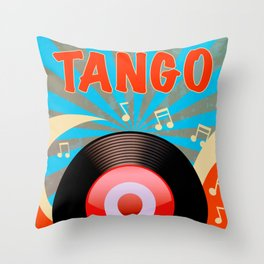 Vintage Tango Record Throw Pillow