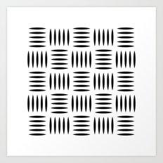 Black & white dash pattern #2 Art Print