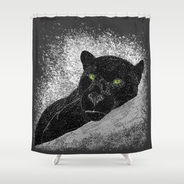 Black panther on a branch - Grey Shower Curtain