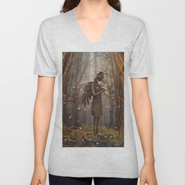 Raven in forest Unisex V-Neck