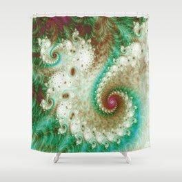 Fractal Tentacle Green Shower Curtain