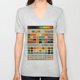 Vintage Scientific Encyclopedia Lithograph Diagram of Color Spectrum Rainbow Unisex V-Neck