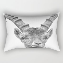 Black and white capricorn animal portrait Rectangular Pillow