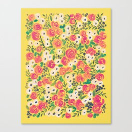 Minnie (Painted Flower Pattern) Canvas Print