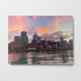 San Francisco Embarcadero City Skyline During Sunset Taken from the Water Metal Print