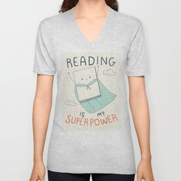 Reading is My Superpower Unisex V-Neck