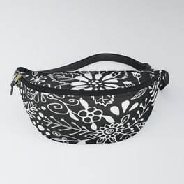 White on Black Florals Fanny Pack