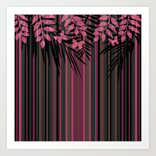 Butterflies and leaves on a striped red-and-black background . Art Print
