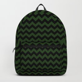Dark Forest Green and Black Chevron Stripe Pattern Backpack