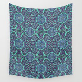 Poppy Pods Mint and Purple Wall Tapestry