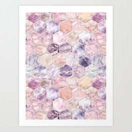 Rose Quartz and Amethyst Stone and Marble Hexagon Tiles Art Print