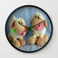 silence of the lambs Wall Clocks featuring Little Lambs by Frankie Cat