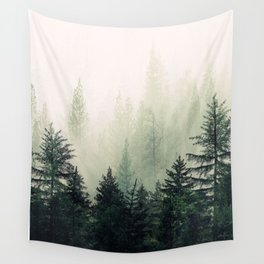 Foggy Pine Trees Wall Tapestry