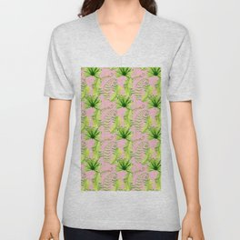 Pastel pink green hand painted tropical leaves pattern Unisex V-Neck