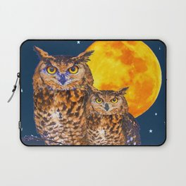 TWO OWLS IN FULL MOONSCAPE NIGHT Laptop Sleeve