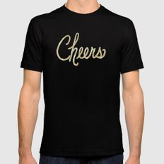 Champagne MEDIUM Black Mens Fitted Tee