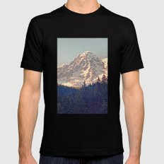 Mount Rainier Retro Mens Fitted Tee LARGE Black