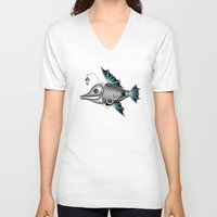 steam punk V-neck T-shirts featuring steam punk fish by Elena Trupak