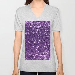 Trendy girly modern purple faux sequins Unisex V-Neck