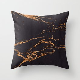 Sparse Marble With Rose Gold Veins on Black Suede Throw Pillow