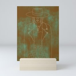 Lady Outlaw Rust & Distressed Turquoise Mini Art Print