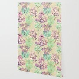 Pastel seaweed pattern. Wallpaper