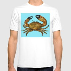 Stone Rock'd Stone Crab By Sharon Cummings White MEDIUM Mens Fitted Tee