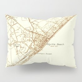 Vintage Map of Myrtle Beach South Carolina (1937) Pillow Sham