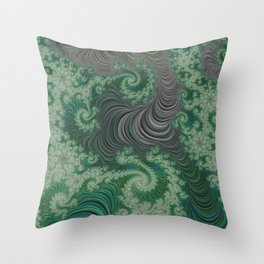 Green Spirals Throw Pillow