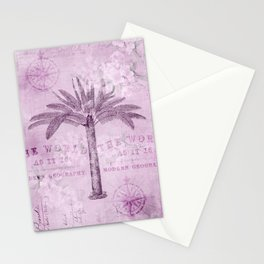 Pink Vintage Palm Tree And Travel Typography Art Stationery Cards