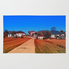 Peaceful countryside village scenery   landscape photography Rug