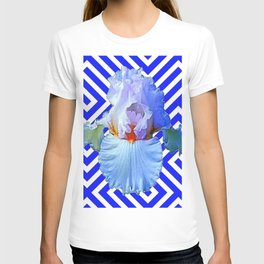 MODERN BLUE & WHITE ART DECO PATTERN IRIS T-shirt