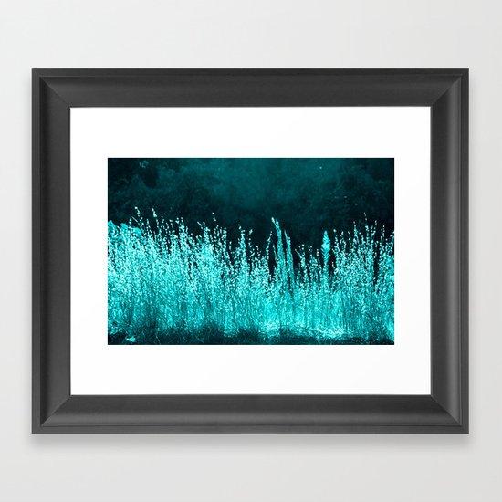 Grasses Aqua Framed Art Print