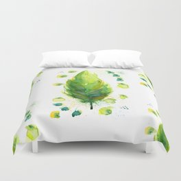 Green Feather Duvet Cover