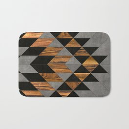 Urban Tribal Pattern 10 - Aztec - Concrete and Wood Bath Mat